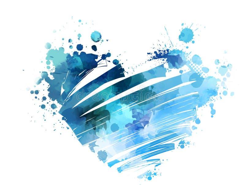 Grunge watercolored hart vector illustratie