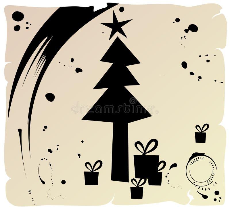 Grunge Weihnachtsbaum vektor abbildung