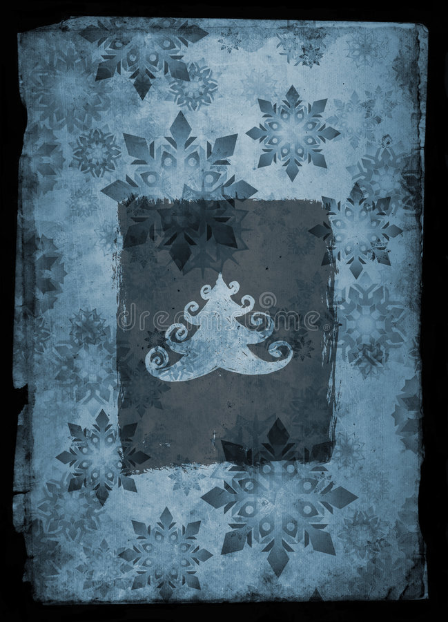 Grunge Weihnachtskarte - Blau stock abbildung