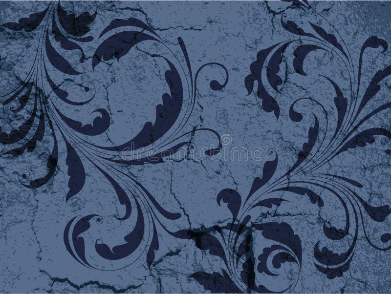 Grunge Weinlese-Blumenhintergrund lizenzfreie abbildung