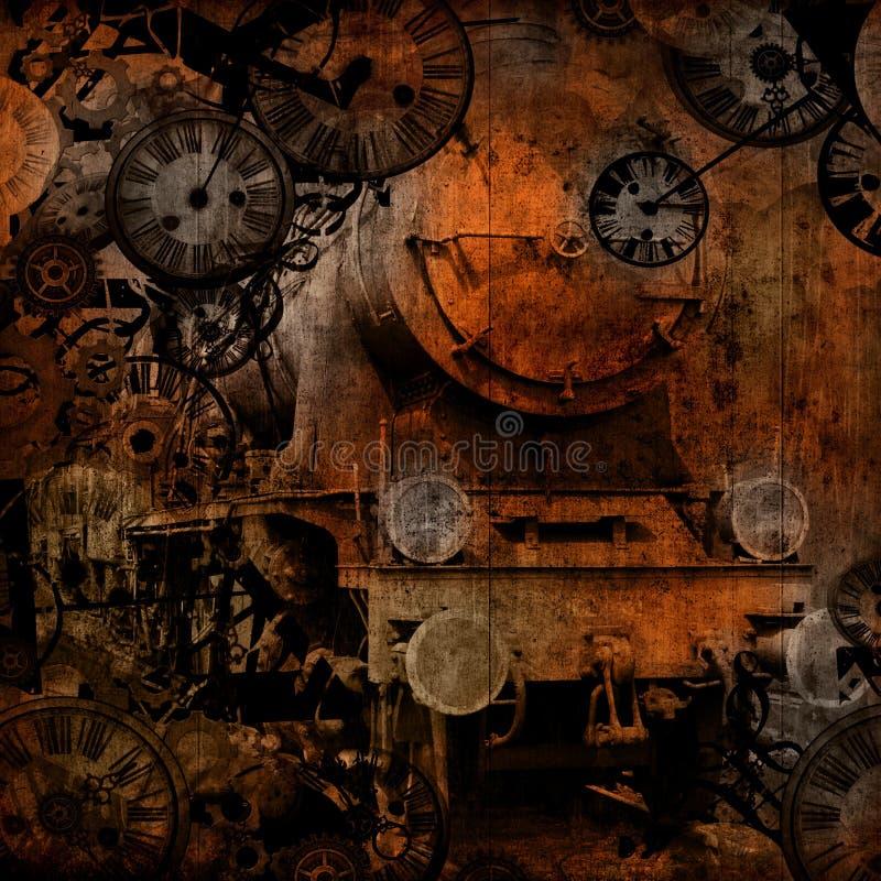 Grunge Weinlese-Dampflokomotive-Zeitmaschine lizenzfreie abbildung