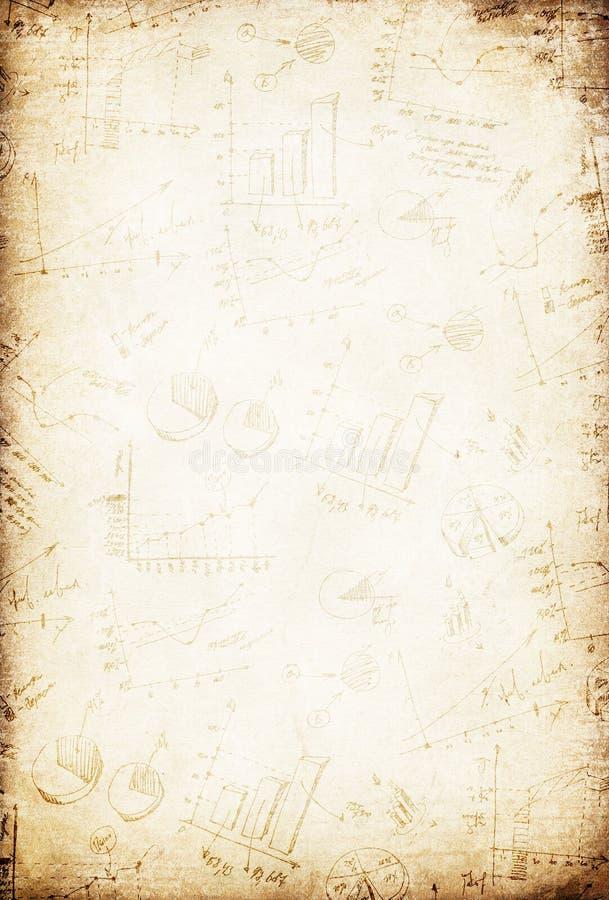 Grunge Weinlesegeschäfts-Zeichenpapier mit Maßeinteilunghintergrund. stock abbildung