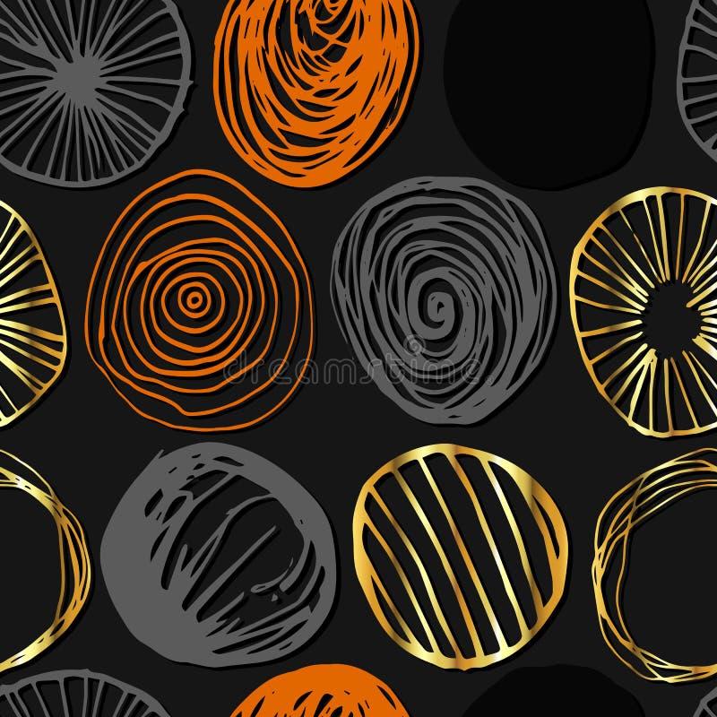 Grunge wektorowy bezszwowy wzór Round kształty ilustracja wektor
