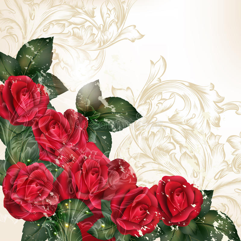 Grunge wektorowy tło w rocznika stylu z wzrastał kwiaty royalty ilustracja