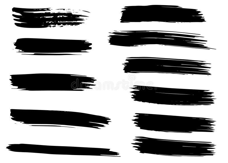 Grunge wektoru muśnięcia susi uderzenia odosobniony Ręka rysujący set ilustracji