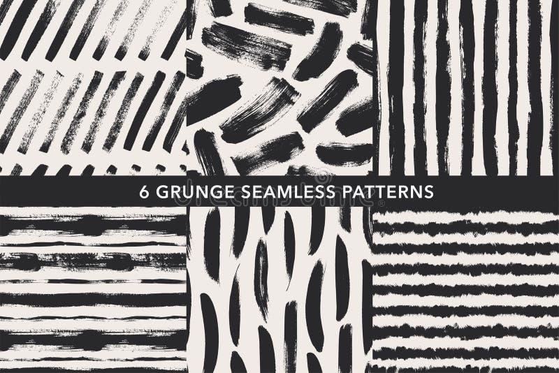 Grunge wektoru ręka rysujący bezszwowi wzory ustawiający Ornamenty dla opakunkowego papieru ilustracji