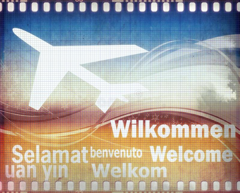 Grunge welcome poster in different languages royalty free stock image