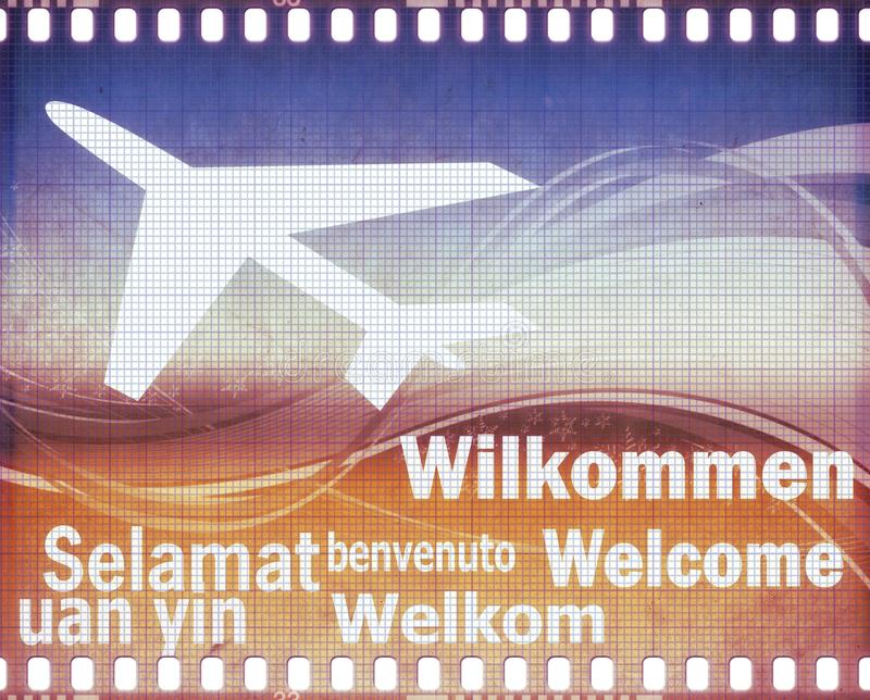 Grunge welcome poster in different languages stock photo