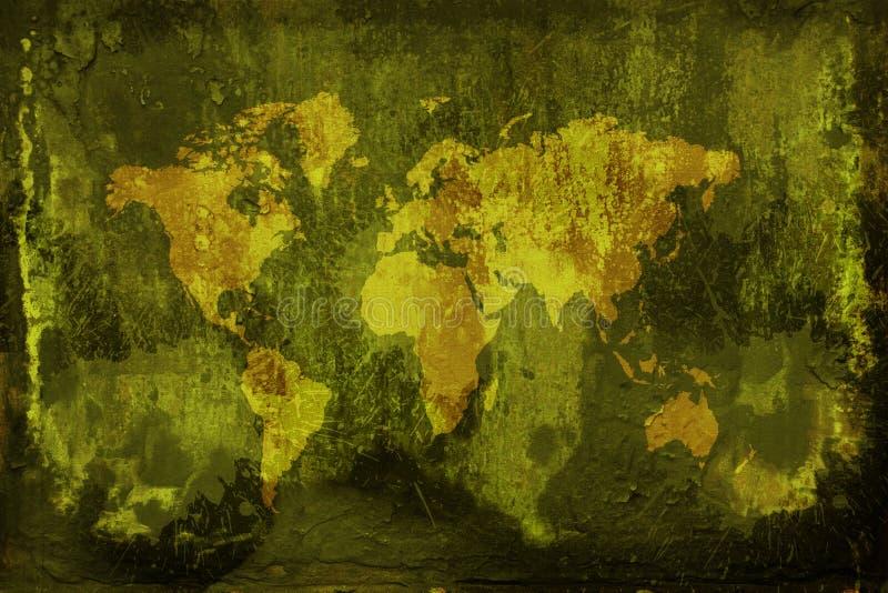 Grunge Weltkarte lizenzfreie abbildung