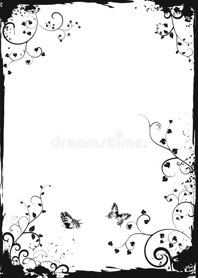 Download Grunge White Floral Frame With Butterflies Stock Vector - Image: 8518032