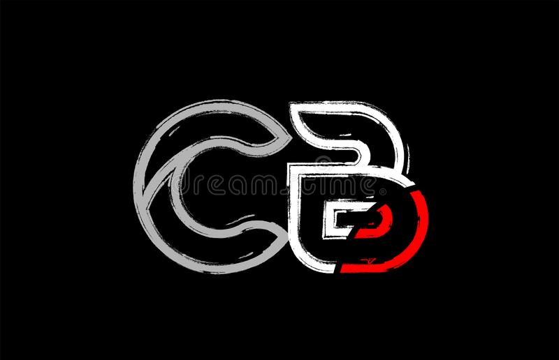 grunge white red black alphabet letter cb c b logo design vector illustration