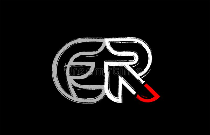 grunge white red black alphabet letter er e r logo design royalty free illustration