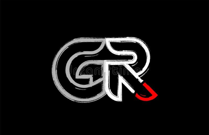 grunge white red black alphabet letter gr g r logo design vector illustration