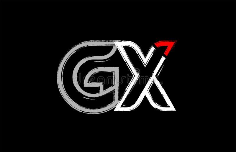 grunge white red black alphabet letter gx g x logo design royalty free illustration