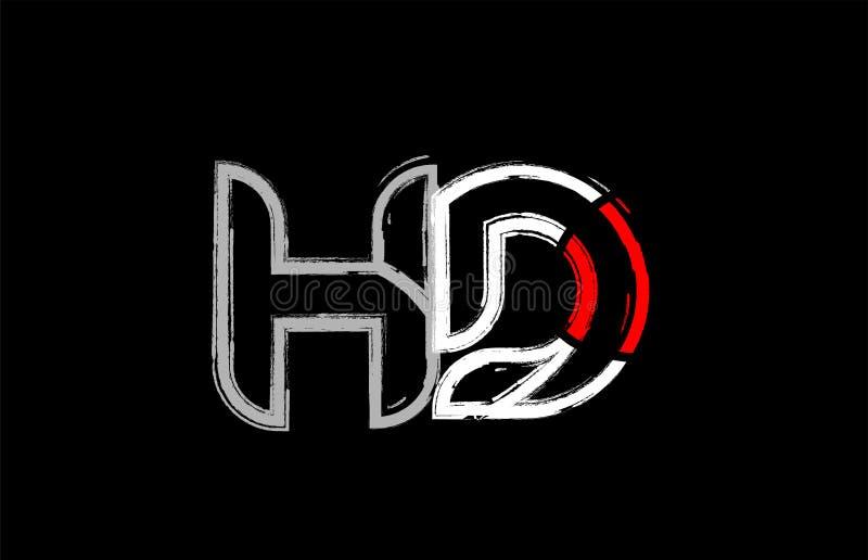 grunge white red black alphabet letter hd h d logo design stock illustration