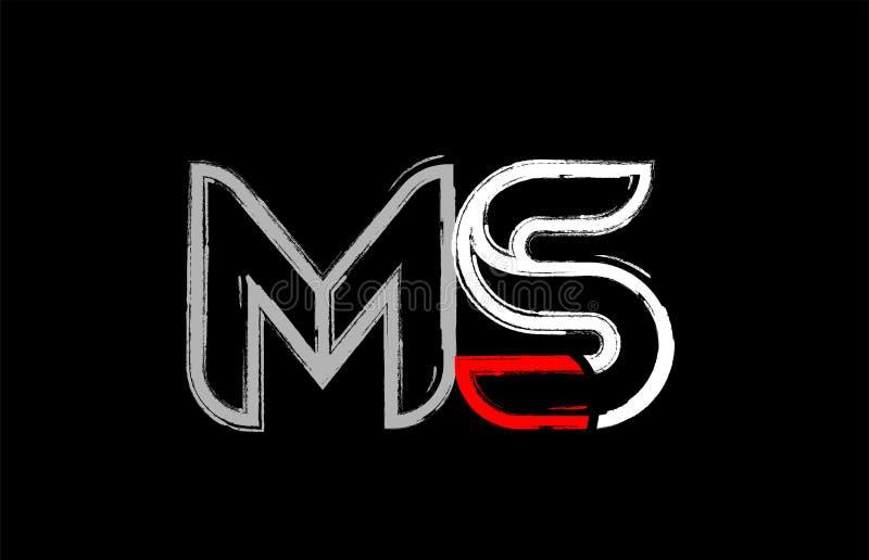 grunge white red black alphabet letter ms m s logo design stock illustration