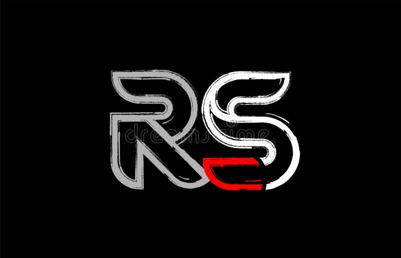 grunge white red black alphabet letter rs r s logo design stock illustration