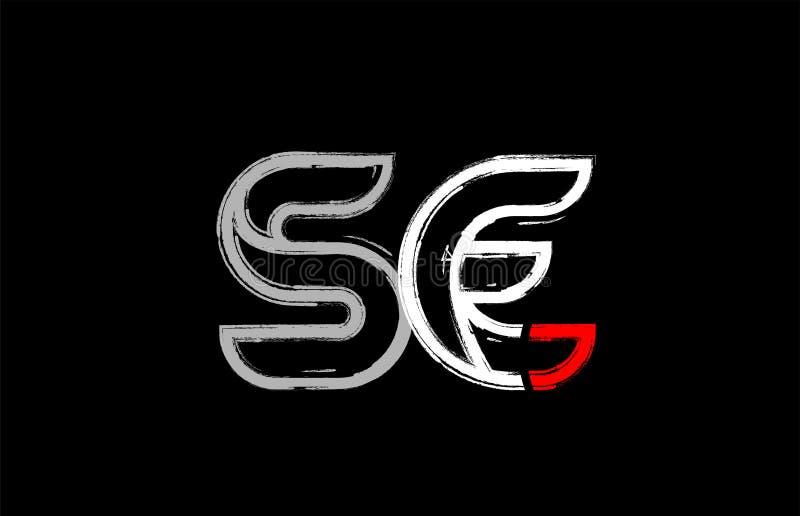 grunge white red black alphabet letter se s e logo design royalty free illustration