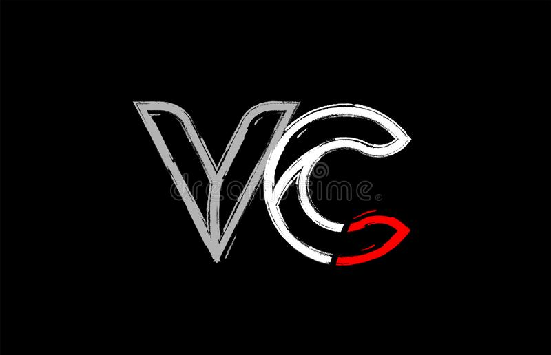 grunge white red black alphabet letter vc v c logo design stock illustration