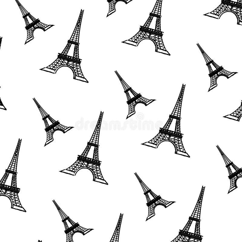 Grunge wieża eifla od Paris France tła royalty ilustracja