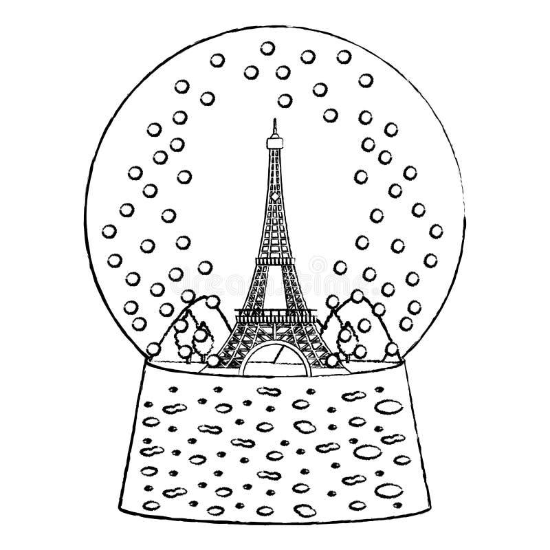 Grunge wieża eifla wśrodku śnieżnego balowego szkła royalty ilustracja
