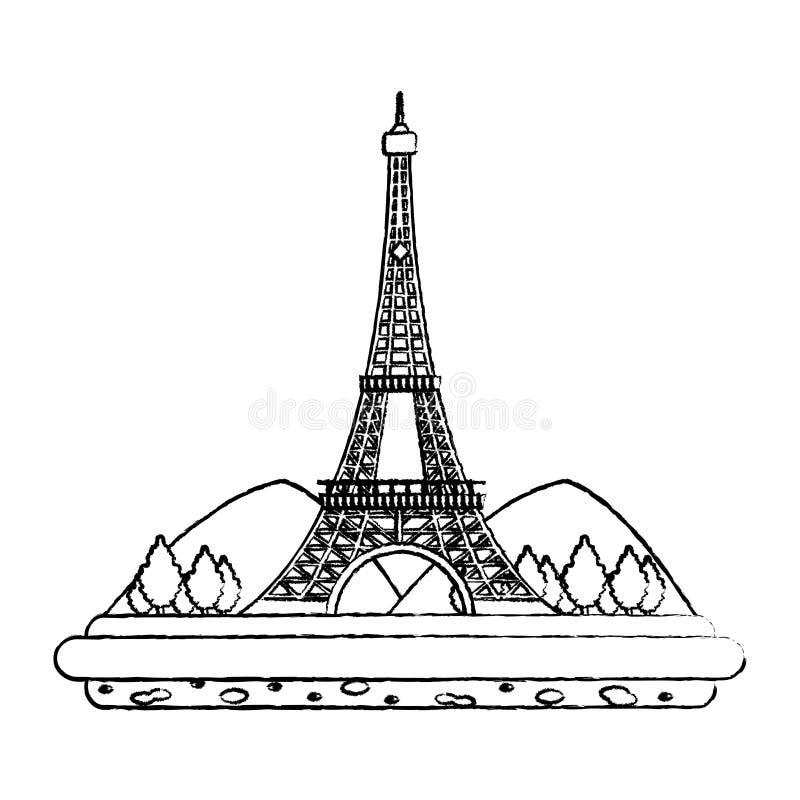 Grunge wieża eifla z mountainsand drzew krajobrazem royalty ilustracja