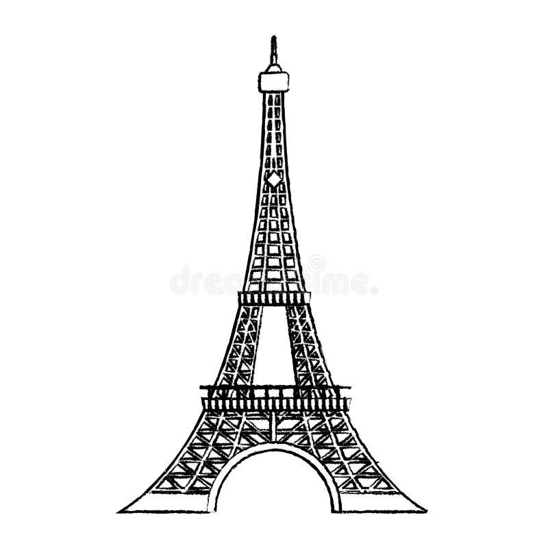 Grunge wieży eiflej architektura od Paris France ilustracja wektor