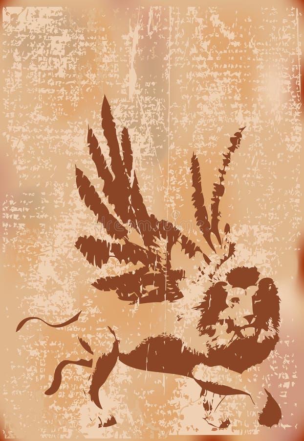 Grunge Winged Löwe lizenzfreie abbildung