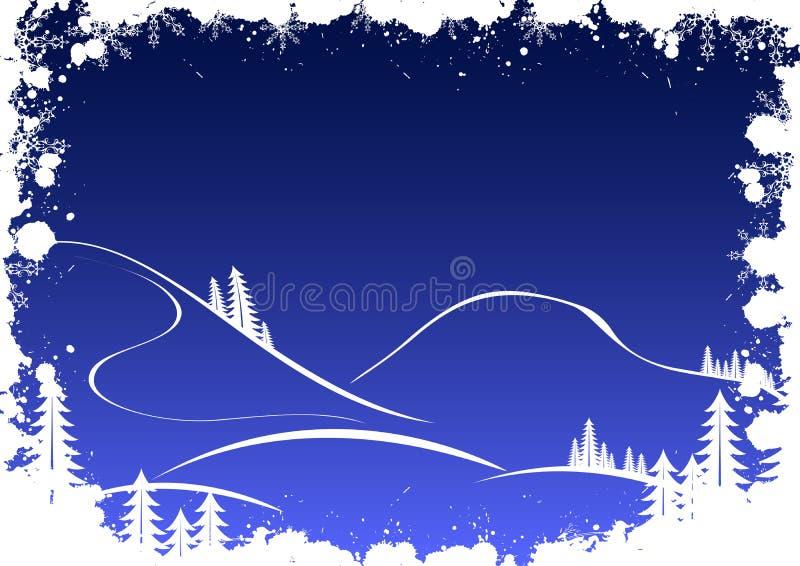 Grunge Winterhintergrund mit Tannenbaumschneeflocken und -sankt stock abbildung