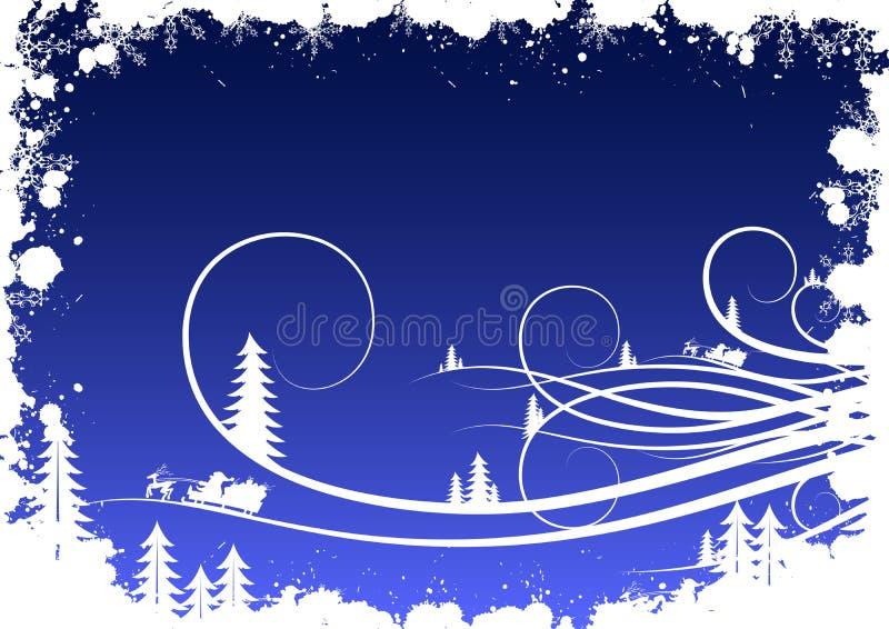Grunge Winterhintergrund mit Tannenbaumschneeflocken und Sankt Clau vektor abbildung