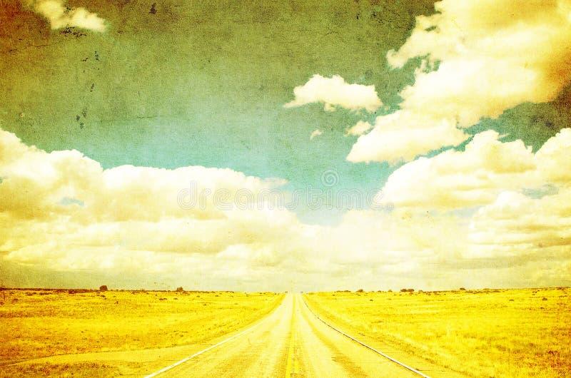 Grunge wizerunek autostrada i niebieskie niebo ilustracja wektor