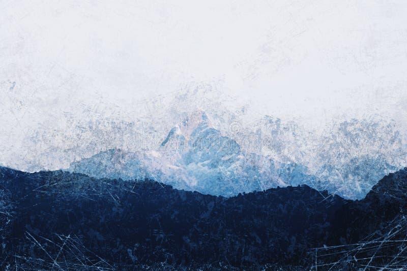 Grunge wizerunek Halny szczyt obrazy royalty free