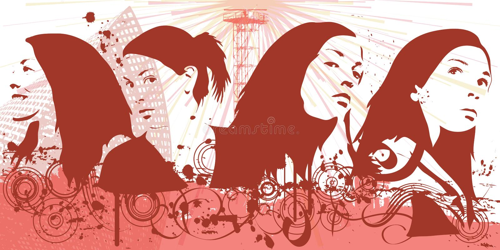 Download Grunge woman stock illustration. Image of elements, artwork - 2301830