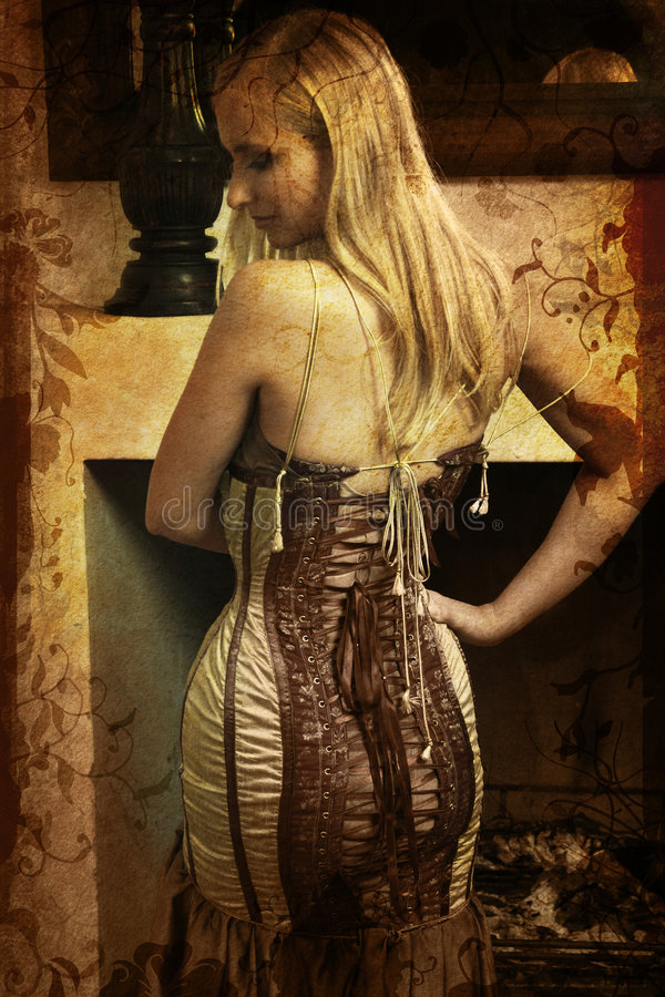 Grunge Woman In Corset Stock Photos