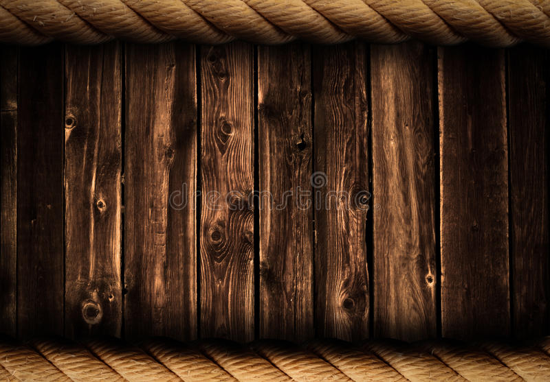 Grunge wood background or backdrop with rope frame royalty free stock photography