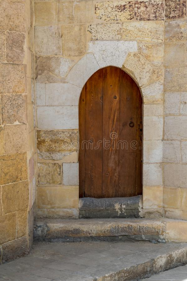 Download Grunge Wooden Aged Vaulted Door On Exterior Stone Bricks Wall Stock Photo - Image of & Grunge Wooden Aged Vaulted Door On Exterior Stone Bricks Wall Stock ...