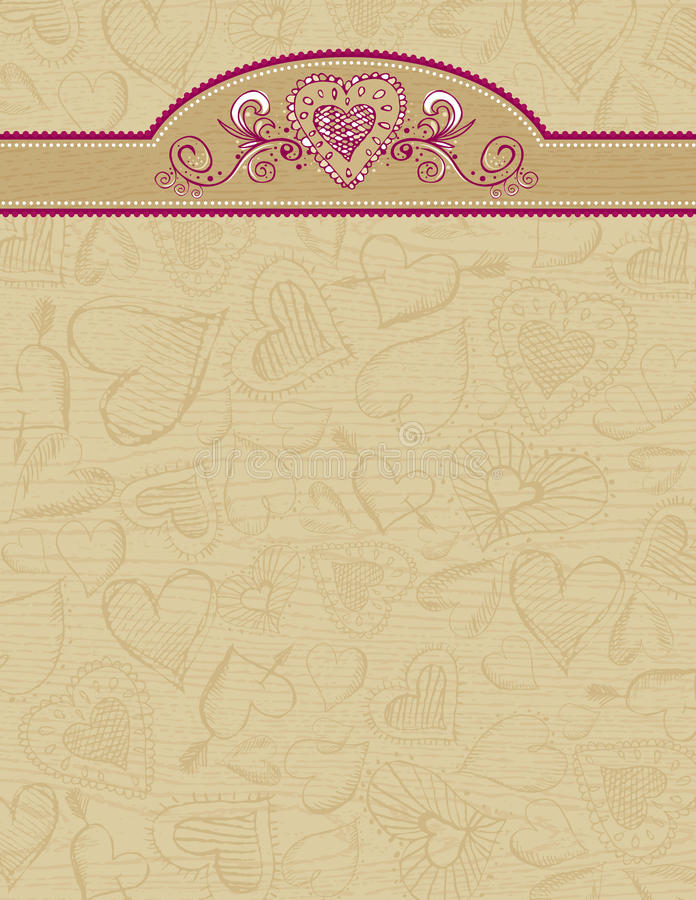 Download Grunge Wooden Background With Hearts Stock Vector - Image: 16102979