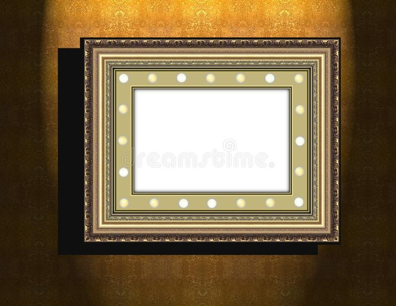 Grunge wooden frame on beige old dirty wall stock illustration