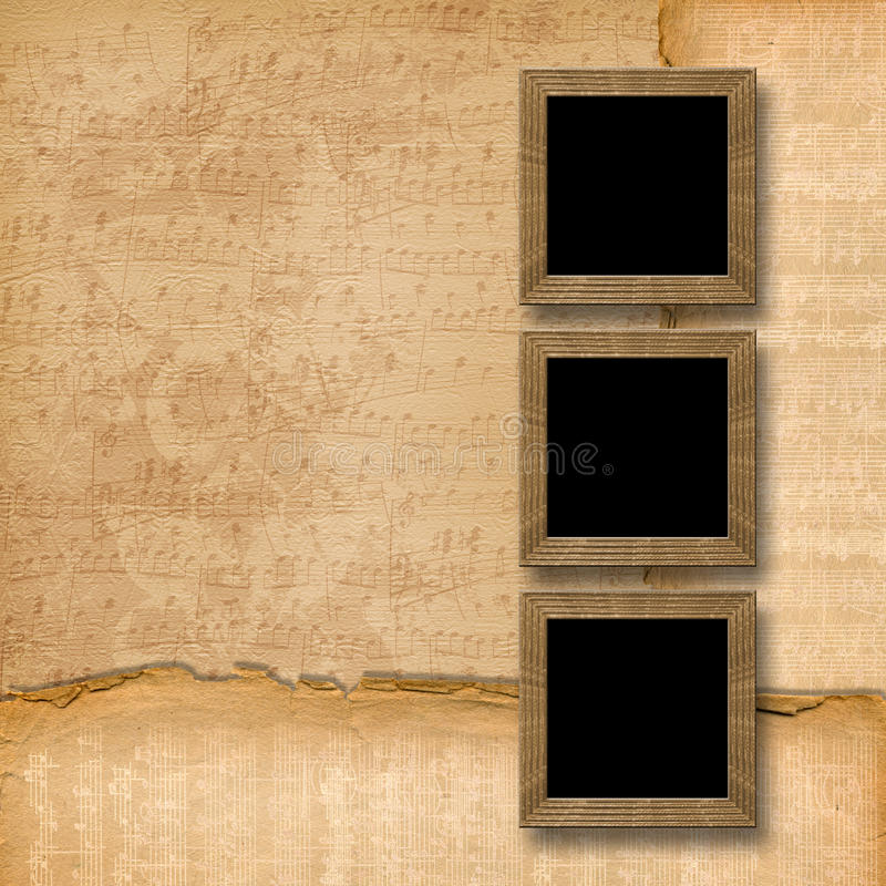 Grunge wooden frames on the musical background royalty free illustration