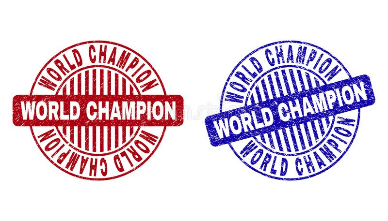 Grunge WORLD CHAMPION Scratched Round Stamps royalty free illustration