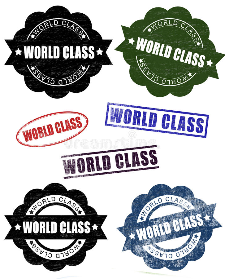 Grunge World Class Rubber Stamp Seals (Vector). An illustration of a set of grunge world class rubber stamp seals stock illustration