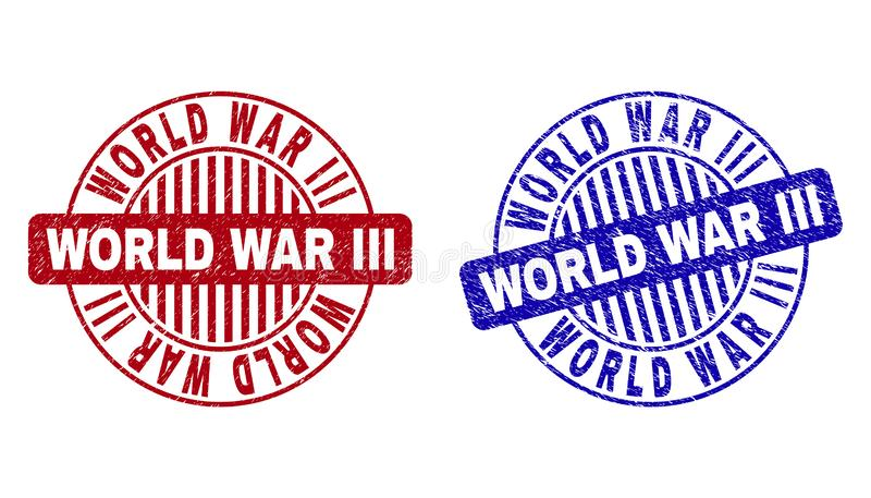 Grunge WORLD WAR III Textured Round Watermarks stock illustration