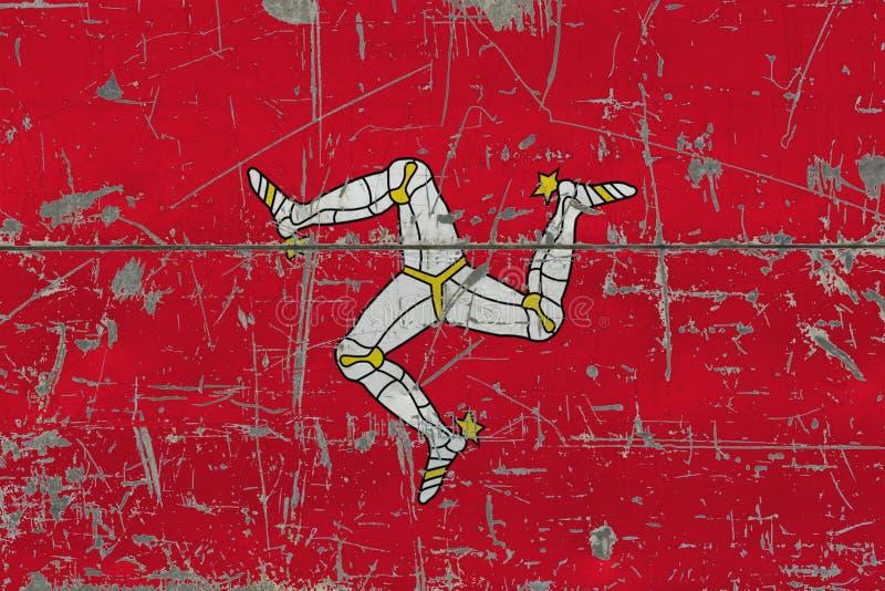 Grunge wyspa mężczyzna flaga na starej porysowanej drewnianej powierzchni Krajowy rocznika tło ilustracji