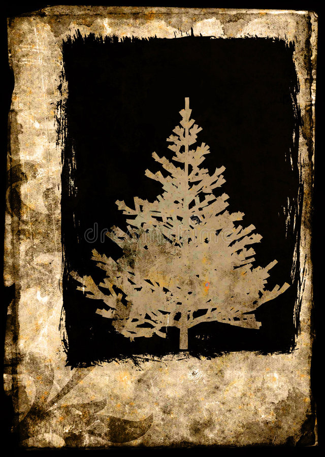 Download Grunge Xmas Tree Postcard - Brown Royalty Free Stock Images - Image: 1524349