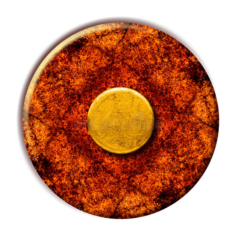 Grunge Yellow Button. This is a vintage grunge yellow button on a rusty surface vector illustration
