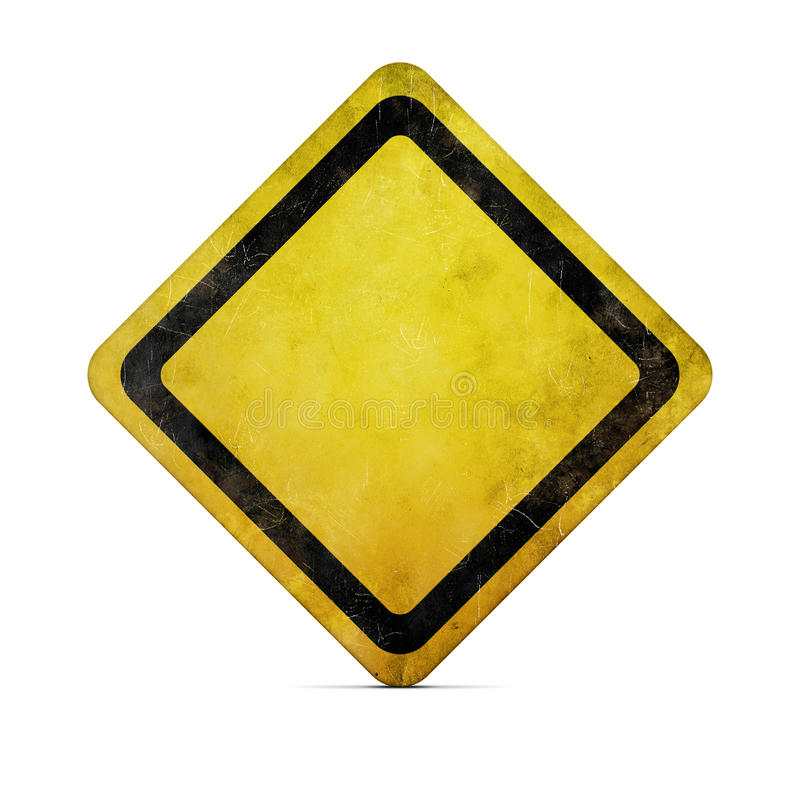 Grunge yellow road sign with clipping path stock illustration