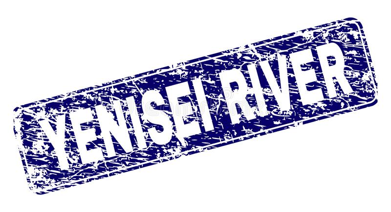 Grunge YENISEI RIVER Framed Rounded Rectangle Stamp. YENISEI RIVER stamp seal print with distress style. Seal shape is a rounded rectangle with frame. Blue vector illustration