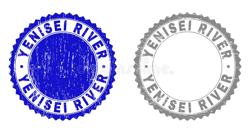 Grunge YENISEI RIVER Scratched Stamp Seals. Grunge YENISEI RIVER stamp seals isolated on a white background. Rosette seals with grunge texture in blue and grey vector illustration