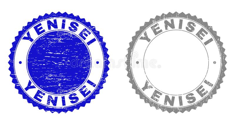 Grunge YENISEI Textured Watermarks. Grunge YENISEI stamp seals isolated on a white background. Rosette seals with grunge texture in blue and grey colors. Vector stock illustration