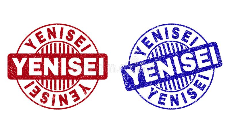 Grunge YENISEI Textured Round Watermarks. Grunge YENISEI round stamp seals isolated on a white background. Round seals with grunge texture in red and blue colors stock illustration